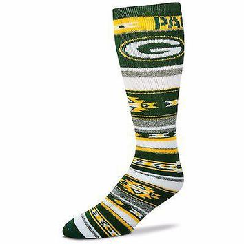 GREEN BAY PACKERS TAILGATER CREW SOCKS SIZE ONE SIZE FITS MOST NEW FOR BARE FEET