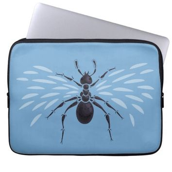 Abstract Flying Ant With Wings Computer Sleeve