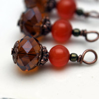Brown Faceted Rondelle Crystal and Orange Cat Eye Bead Dangle Drop Charm Set
