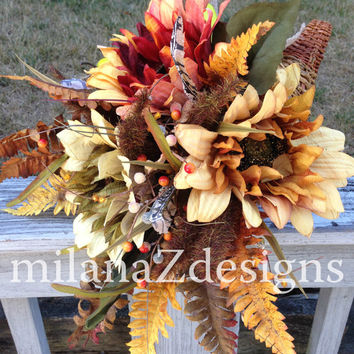 Cornucopia, Fall Arrangement, Table Centerpiece, Horn of Plenty, Harvest Decorations, Fruit and Floral, Feathers Burlap and Flowers