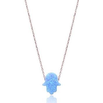 Solid 925 Sterling Silver Blue Opal Hamsa Hand Necklaces