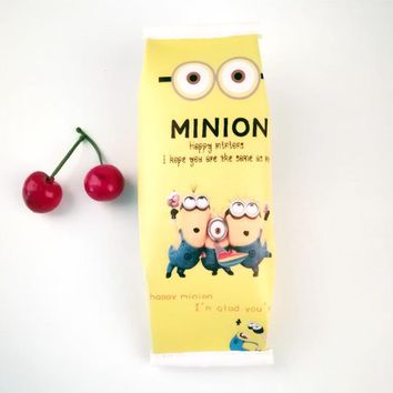 Kawaii Minion school pencil case for kids Cute fruit popcorn pen bag Stationery pouch office school supplies escolar Zakka
