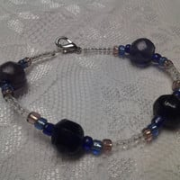 Blue, Purple and Clear Glass Bead Bracelet