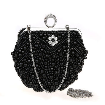 Black clutch with pearls and crystals, Pearl evening bag, Beaded party bag,