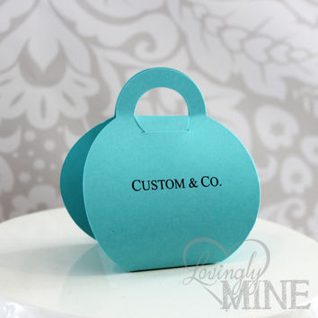 Tiffany & Co Inspired Purse Shaped Favor Bags - Tiffany Blue - Set of 12