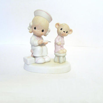 Enesco Love Beareth all Things Doctor/Nurse Figurine Jonathan & David Precious Moments Figurine 1981