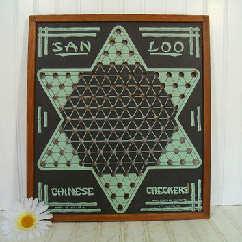 Vintage San Loo Chinese Checkers Board in Wooden Frame - Retro Wood & Hand Painted Board Game Room Decor Wall Hanging - Mad Man Sea Foam Art