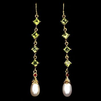 Perfect 14K Yellow Gold 28.60TCW Natural Green Peridot Red Ruby and Pearl Earrings