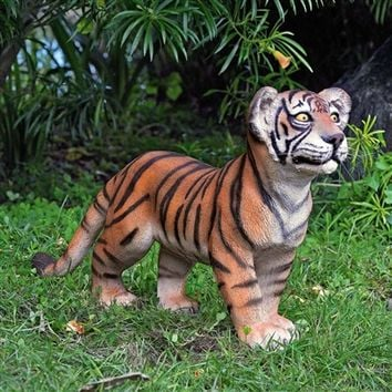 SheilaShrubs.com: The Grand-Scale Wildlife Animal Collection - Standing Bengal Tiger Cub Statue NE80150 by Design Toscano: Garden Sculptures & Statues