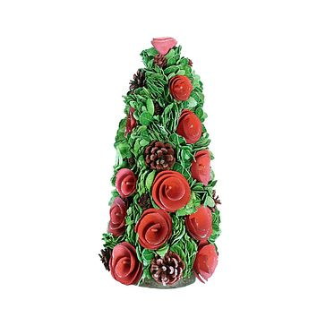 """15.75"""" Red Wood Rose Flower and Pine Cones Christmas Cone Tree Decoration"""