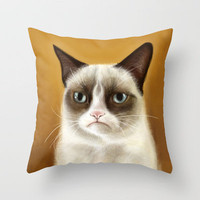 Grumpy Cat Tardar Sauce Tard Throw Pillow by Olechka | Society6