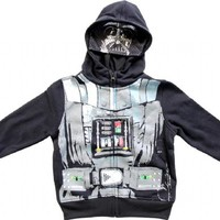Star Wars Boys Darth Vader Black Zip Up Costume Hoodie Sweatshirt