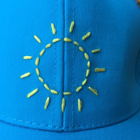 Hand Embroidered Baseball Cap with Sunshine Design