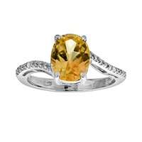 Sterling Silver Citrine & Diamond Accent Oval Ring (Orange)