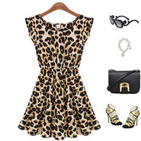 Leopard Animal Print Dress, Mini Dress, Summer Dress, Celebrity Style Dress