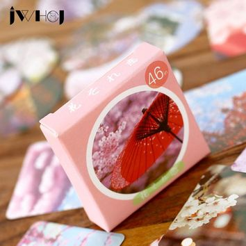 46 pcs/box JWHCJ japan cherry blossoms paper sticker decora diy diary scrapbooking sticker children favorite stationery gifts