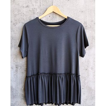dreamers - dainty peplum top - charcoal