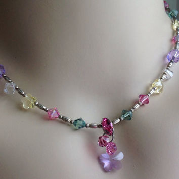 Crystal and Sterling Silver  Bead Necklace and Bracelet Set Beautiful. Perfect for Spring