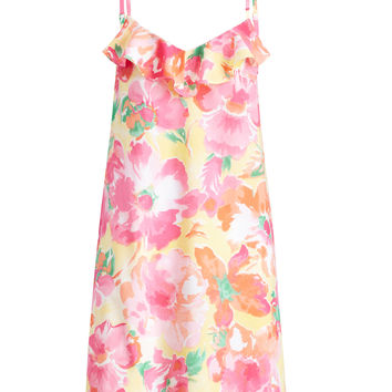 RUFFLED FLORAL LAWN CHEMISE