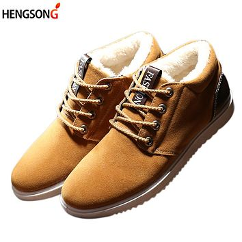 Autumn Men Casual Shoes Plus Wool Winter Warm Shoes Men's Fleeces Shoes Lace Up Leisure Anti Slippery Flats Shoes Male Sneakers