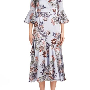 Erdem Floral Print Silk Satin Dress | Nordstrom