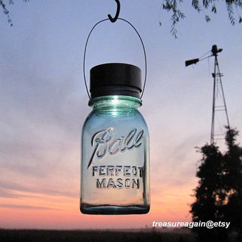 1 Mason Jar Light Hanging Solar Mason Jar Lantern, Ball Jar, Garden Lighting, Upcycled Gift for Gardeners, Outdoor Hanging Lights