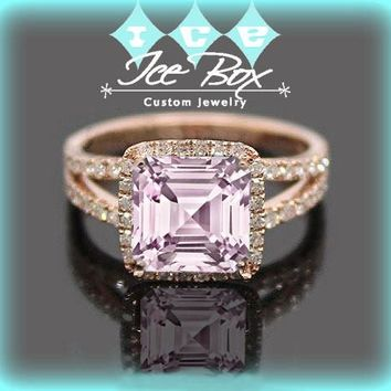 Cultured Pale Pink Sapphire Engagement Ring -  7mm 1.6ct Cultured Asscher Cut Pink Sapphire set in a 14k Rose Gold Diamond Halo Setting
