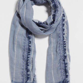 chambray scarf with embroidery and crocheted pompom trim | maurices
