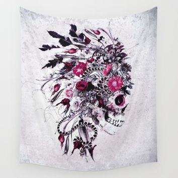 Skull Red Wall Tapestry by RIZA PEKER
