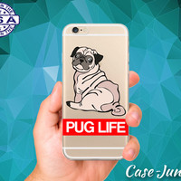 Pug Life Quote Dog Puppy Cartoon Funny Doggy Clear Case iPhone 5/5s iPhone 5C iPhone 6 iPhone 6 +, iPhone 6s, iPhone 6s Plus + and iPhone SE