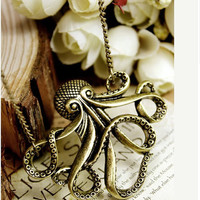 vintage Steampunk bronze Octopus necklace by qizhouhuang on Etsy