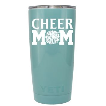 YETI 20 oz Cheer Mom Pom Pom on Seafoam Tumbler