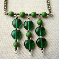 Vintage Chain Necklace Green Candy Apple Glass by PiggleAndPop