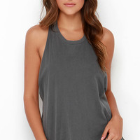 Obey Paige Washed Grey Top