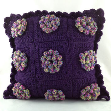Puffy Flower Pillow Purple/Ombre, Crochet Cushion, Flower Pillow, 18x18, Purple Pillow, Throw Pillow, Home Decor