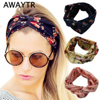 2017 Fashion Retro Women Ethnic Turban Twisted Knotted Elastic Headband Floral Wide Stretch Girl Casual Hair Accessories
