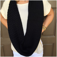 Weaved & Woven Knit Infinity Scarf - BLACK - Scarf