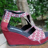 Braided T Strap Wedge Heel Womens Sandals, Vegan Shoes In Ethnic Karen Hand Woven Textiles Boho Summer Shoes - Hilary