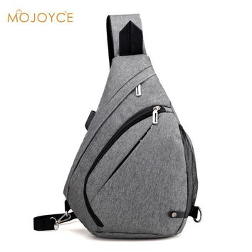 Hot 2017 New Casual Men's USB Charge Chest Bags Nylon Sling Bag Multifunctional Small Male Crossbody Bags Fashion Shoulder Bags