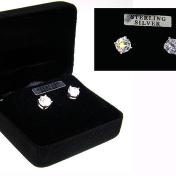 Sterling Silver CZ Studs Earrings in Black Gift Box
