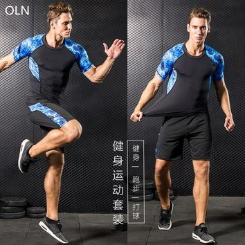 OLN men Fitness clothing sports compression clothes sports quick-drying beach two-piece running sports quick-drying clothes