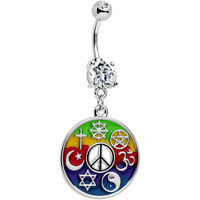 Clear Gem Peace Sign Universal Symbols of Peace Dangle Belly Ring