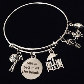 Life Is Better at the Beach Adjustable Bracelet Expandable Charm Bangle Ocean Nautical Vacation Jewelry One Size Fits All Gift Flip Flops Beach Chair Crab Shell Beach Ball