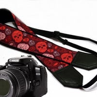 Sugar skulls camera strap. Halloween camera strap. DSLR Camera Strap. Camera accessories. Nikon Canon camera strap. Red