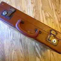 Vintage Brown Briefcase With Key Locking Case Hard Side Firm Sided
