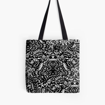 'Black and White Tribal Pattern' Tote Bag by MaksciaMind