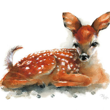 Deer Fawn watercolor painting - Art Print. Nature or Animal Illustration. Rust and Orange.