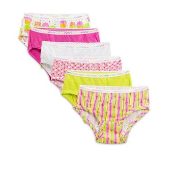 Fruit of the Loom Toddler Girl Hipster Underwear, 6-Pack, 4T, Assorted