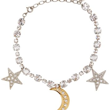 Stella crystal-embellished stars and moon necklace