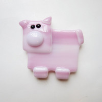 Pink Pig Made of Fused Glass, Limited Edition Pig Magnet, Gift for Animal Lover, Piglet Lover Gift, Gift Under 10, Magnet Collector Gift